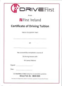 Certification Clane Driving Academy